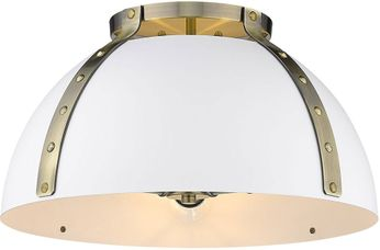 Golden Lighting 6928-FM18-AB-WHT Aldrich Modern Aged Brass Flush Ceiling Light Fixture