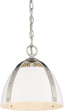 Golden Lighting 6928-S-PW-WHT Aldrich Modern Pewter Mini Ceiling Pendant Light
