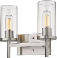 Golden Lighting 7011-BA2-PW-CLR Winslett Contemporary Pewter 2-Light Bathroom Wall Light Fixture