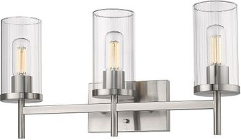 Golden Lighting 7011-BA3-PW-CLR Winslett Contemporary Pewter 3-Light Lighting For Bathroom