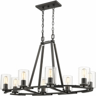 Golden Lighting 7041-LP-BLK-CLR Monroe Modern Black Kitchen Island Lighting