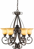 Golden Lighting 7116-6-LC Mayfair Leather Crackle Chandelier Lamp