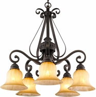 Golden Lighting 7116-D5-LC Mayfair Leather Crackle Ceiling Chandelier