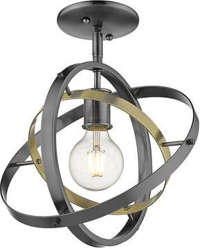 Golden Lighting 7936-1SF-BS-AB-BS Atom Modern Brushed Steel / Aged Brass Ceiling Lighting Fixture