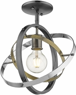 Golden Lighting 7936-1SF-BS-AB-CH Atom Contemporary Brushed Steel / Aged Brass / Chrome Ceiling Light Fixture