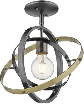 Golden Lighting 7936-1SF-BS-BS-AB Atom Modern Brushed Steel / Aged Brass Flush Lighting