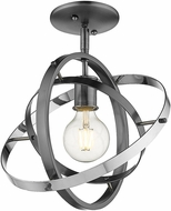 Golden Lighting 7936-1SF-BS-BS-CH Atom Modern Brushed Steel / Chrome Overhead Lighting