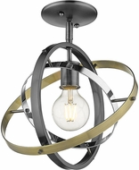 Golden Lighting 7936-1SF-BS-CH-AB Atom Contemporary Brushed Steel / Chrome / Aged Brass Flush Mount Light Fixture