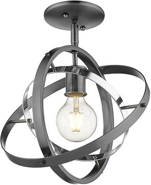 Golden Lighting 7936-1SF-BS-CH-BS Atom Modern Brushed Steel / Chrome Flush Mount Lighting Fixture