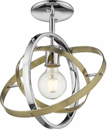 Golden Lighting 7936-1SF-CH-AB-AB Atom Modern Chrome / Aged Brass Flush Mount Ceiling Light Fixture