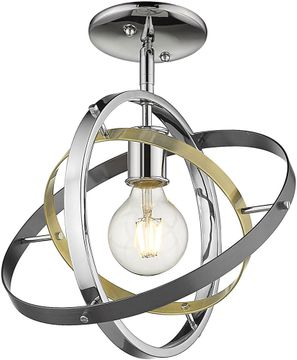 Golden Lighting 7936-1SF-CH-AB-BS Atom Contemporary Chrome / Aged Brass / Brushed Steel Home Ceiling Lighting