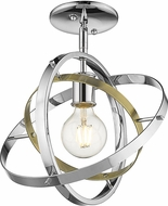 Golden Lighting 7936-1SF-CH-AB-CH Atom Modern Chrome / Aged Brass Overhead Light Fixture