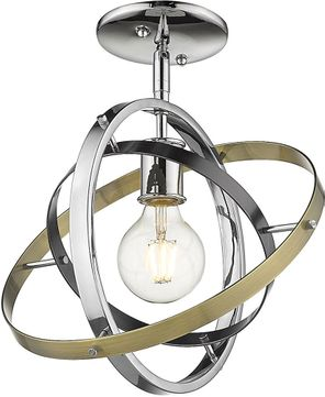 Golden Lighting 7936-1SF-CH-BS-AB Atom Contemporary Chrome / Brushed Steel / Aged Brass Overhead Lighting Fixture