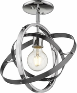 Golden Lighting 7936-1SF-CH-BS-BS Atom Modern Chrome / Brushed Steel Ceiling Lighting