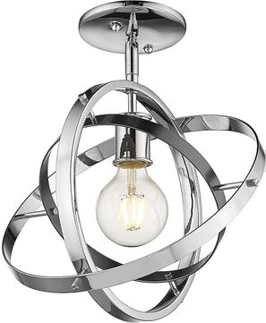 Golden Lighting 7936-1SF-CH-BS-CH Atom Contemporary Chrome / Brushed Steel Ceiling Light