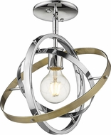Golden Lighting 7936-1SF-CH-CH-AB Atom Modern Chrome / Aged Brass Ceiling Light Fixture