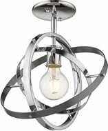Golden Lighting 7936-1SF-CH-CH-BS Atom Contemporary Chrome / Brushed Steel Ceiling Lighting Fixture