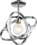 Golden Lighting 7936-1SF-CH-CH-CH Atom Modern Chrome Ceiling Light Fixture