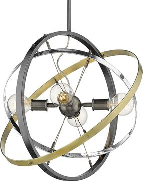 Golden Lighting 7936-4-BS-CH-AB Atom Contemporary Brushed Steel / Chrome / Aged Brass Hanging Lamp