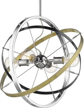 Golden Lighting 7936-4-CH-BS-AB Atom Contemporary Chrome / Brushed Steel / Aged Brass Pendant Hanging Light