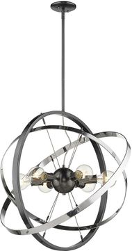 Golden Lighting 7936-6-BS-CH-CH Atom Contemporary Brushed Steel / Chrome Pendant Light Fixture