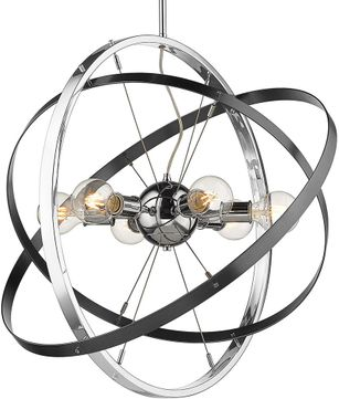 Golden Lighting 7936-6-CH-BS-BS Atom Modern Chrome / Brushed Steel Hanging Light Fixture