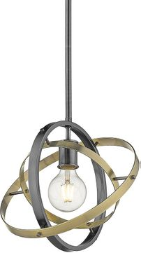 Golden Lighting 7936-M-BS-AB-AB Atom Contemporary Brushed Steel / Aged Brass Drop Ceiling Light Fixture