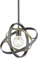 Golden Lighting 7936-M-BS-AB-BS Atom Modern Brushed Steel / Aged Brass Drop Lighting Fixture