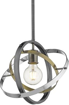 Golden Lighting 7936-M-BS-AB-CH Atom Contemporary Brushed Steel / Aged Brass / Chrome Pendant Lighting