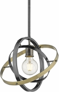 Golden Lighting 7936-M-BS-BS-AB Atom Modern Brushed Steel / Aged Brass Pendant Light