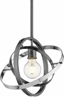 Golden Lighting 7936-M-BS-BS-CH Atom Modern Brushed Steel / Chrome Pendant Lamp