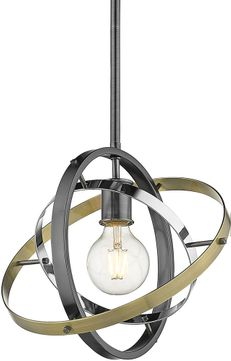 Golden Lighting 7936-M-BS-CH-AB Atom Contemporary Brushed Steel / Chrome / Aged Brass Hanging Lamp