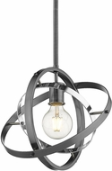 Golden Lighting 7936-M-BS-CH-BS Atom Modern Brushed Steel / Chrome Hanging Light