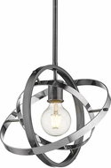 Golden Lighting 7936-M-BS-CH-CH Atom Contemporary Brushed Steel / Chrome Pendant Light Fixture