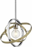 Golden Lighting 7936-M-CH-AB-AB Atom Modern Chrome / Aged Brass Pendant Lighting Fixture