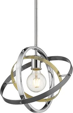 Golden Lighting 7936-M-CH-AB-BS Atom Contemporary Chrome / Aged Brass / Brushed Steel Hanging Pendant Lighting