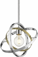 Golden Lighting 7936-M-CH-AB-CH Atom Modern Chrome / Aged Brass Hanging Pendant Light