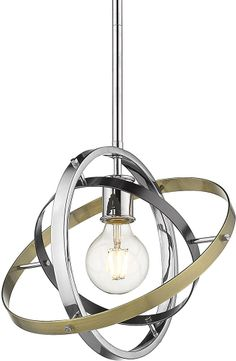 Golden Lighting 7936-M-CH-BS-AB Atom Contemporary Chrome / Brushed Steel / Aged Brass Pendant Hanging Light