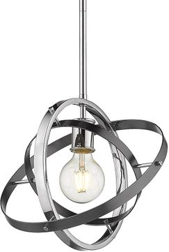 Golden Lighting 7936-M-CH-BS-BS Atom Modern Chrome / Brushed Steel Hanging Light Fixture
