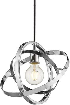 Golden Lighting 7936-M-CH-BS-CH Atom Contemporary Chrome / Brushed Steel Drop Lighting