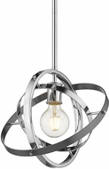 Golden Lighting 7936-M-CH-CH-BS Atom Contemporary Chrome / Brushed Steel Ceiling Light Pendant