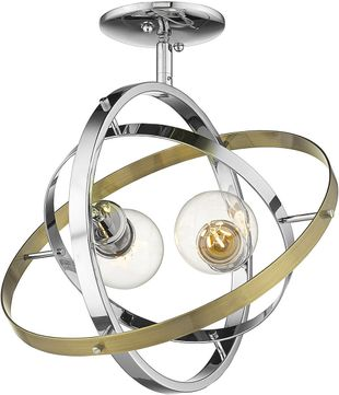 Golden Lighting 7936-SF-CH-CH-AB Atom Modern Chrome / Aged Brass Flush Lighting