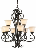 Golden Lighting 8063-9-BUS Heartwood Burnt Sienna Hanging Chandelier