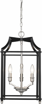 Golden Lighting 8401-3P-PW-BLK Leighton PW Pewter 12  Foyer Light Fixture