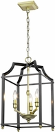 Golden Lighting 8401-3P-SB-BLK Leighton SB Satin Brass 12  Entryway Light Fixture