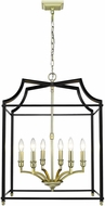 Golden Lighting 8401-6P-SB-BLK Leighton SB Satin Brass 20.5  Foyer Light Fixture