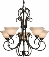 Golden Lighting 8606-5-RBZ-TEA Homestead Rubbed Bronze Hanging Chandelier