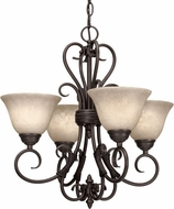 Golden Lighting 8606-GM4-RBZ-TEA Homestead Rubbed Bronze Mini Hanging Chandelier