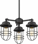 Golden Lighting 9808-3-BLK Seaport Black Mini Chandelier Light