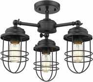 Golden Lighting 9808-3SF-BLK Seaport Black Ceiling Light